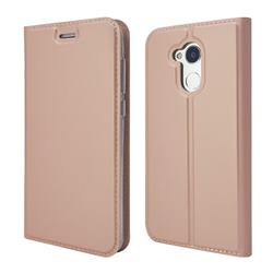Ultra Slim Card Magnetic Automatic Suction Leather Wallet Case for Huawei Honor 6A - Rose Gold