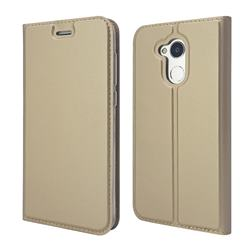 Ultra Slim Card Magnetic Automatic Suction Leather Wallet Case for Huawei Honor 6A - Champagne