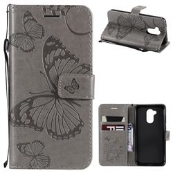 Embossing 3D Butterfly Leather Wallet Case for Huawei Honor 6A - Gray