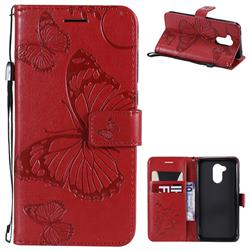 Embossing 3D Butterfly Leather Wallet Case for Huawei Honor 6A - Red