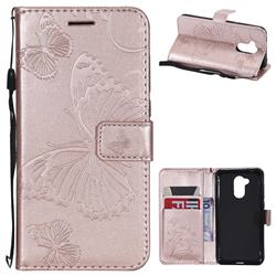 Embossing 3D Butterfly Leather Wallet Case for Huawei Honor 6A - Rose Gold