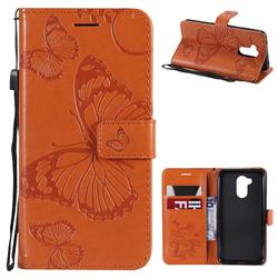 Embossing 3D Butterfly Leather Wallet Case for Huawei Honor 6A - Orange