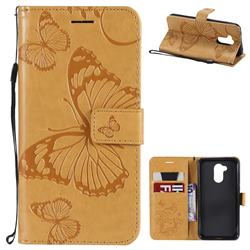 Embossing 3D Butterfly Leather Wallet Case for Huawei Honor 6A - Yellow