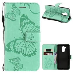 Embossing 3D Butterfly Leather Wallet Case for Huawei Honor 6A - Green