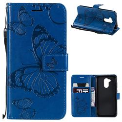 Embossing 3D Butterfly Leather Wallet Case for Huawei Honor 6A - Blue