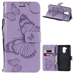 Embossing 3D Butterfly Leather Wallet Case for Huawei Honor 6A - Purple