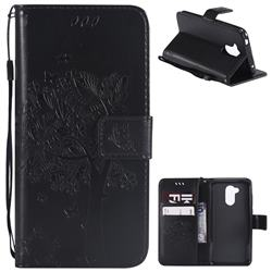 Embossing Butterfly Tree Leather Wallet Case for Huawei Honor 6A - Black