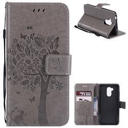 Embossing Butterfly Tree Leather Wallet Case for Huawei Honor 6A - Grey