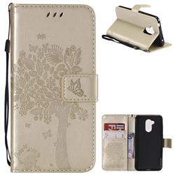 Embossing Butterfly Tree Leather Wallet Case for Huawei Honor 6A - Champagne