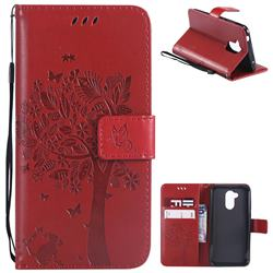 Embossing Butterfly Tree Leather Wallet Case for Huawei Honor 6A - Red
