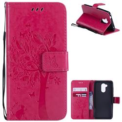 Embossing Butterfly Tree Leather Wallet Case for Huawei Honor 6A - Rose