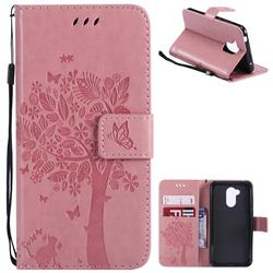 Embossing Butterfly Tree Leather Wallet Case for Huawei Honor 6A - Pink