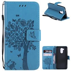 Embossing Butterfly Tree Leather Wallet Case for Huawei Honor 6A - Blue