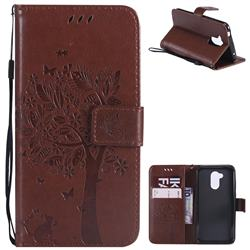 Embossing Butterfly Tree Leather Wallet Case for Huawei Honor 6A - Brown