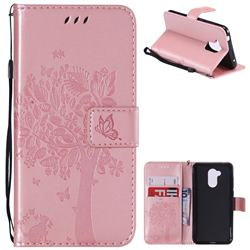 Embossing Butterfly Tree Leather Wallet Case for Huawei Honor 6A - Rose Pink