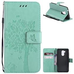 Embossing Butterfly Tree Leather Wallet Case for Huawei Honor 6A - Cyan