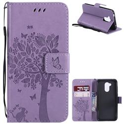Embossing Butterfly Tree Leather Wallet Case for Huawei Honor 6A - Violet
