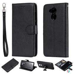 Retro Greek Detachable Magnetic PU Leather Wallet Phone Case for Huawei Honor 6A - Black