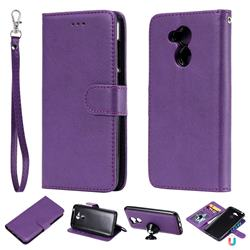 Retro Greek Detachable Magnetic PU Leather Wallet Phone Case for Huawei Honor 6A - Purple