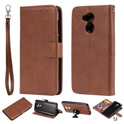 Retro Greek Detachable Magnetic PU Leather Wallet Phone Case for Huawei Honor 6A - Brown