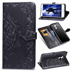 Embossing Imprint Mandala Flower Leather Wallet Case for Huawei Honor 6A - Black