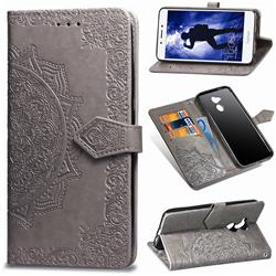 Embossing Imprint Mandala Flower Leather Wallet Case for Huawei Honor 6A - Gray