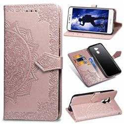 Embossing Imprint Mandala Flower Leather Wallet Case for Huawei Honor 6A - Rose Gold