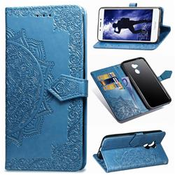 Embossing Imprint Mandala Flower Leather Wallet Case for Huawei Honor 6A - Blue