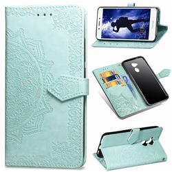 Embossing Imprint Mandala Flower Leather Wallet Case for Huawei Honor 6A - Green