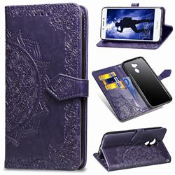 Embossing Imprint Mandala Flower Leather Wallet Case for Huawei Honor 6A - Purple