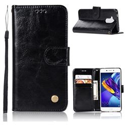 Luxury Retro Leather Wallet Case for Huawei Honor 6C Pro - Black