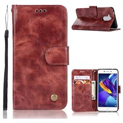 Luxury Retro Leather Wallet Case for Huawei Honor 6C Pro - Wine Red