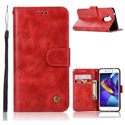 Luxury Retro Leather Wallet Case for Huawei Honor 6C Pro - Red