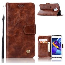 Luxury Retro Leather Wallet Case for Huawei Honor 6C Pro - Brown