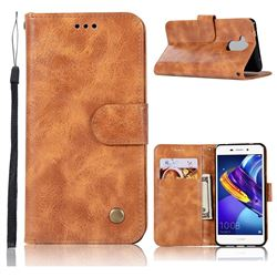Luxury Retro Leather Wallet Case for Huawei Honor 6C Pro - Golden