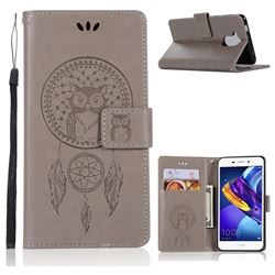 Intricate Embossing Owl Campanula Leather Wallet Case for Huawei Honor 6C Pro - Grey