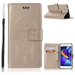 Intricate Embossing Owl Campanula Leather Wallet Case for Huawei Honor 6C Pro - Champagne