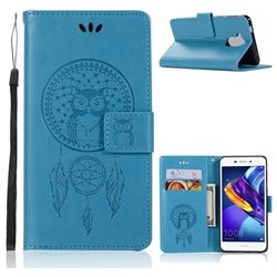 Intricate Embossing Owl Campanula Leather Wallet Case for Huawei Honor 6C Pro - Blue