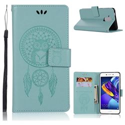 Intricate Embossing Owl Campanula Leather Wallet Case for Huawei Honor 6C Pro - Green