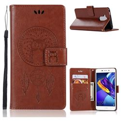 Intricate Embossing Owl Campanula Leather Wallet Case for Huawei Honor 6C Pro - Brown