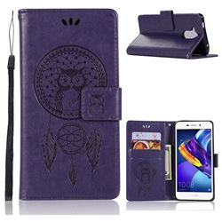 Intricate Embossing Owl Campanula Leather Wallet Case for Huawei Honor 6C Pro - Purple