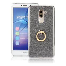 Luxury Soft TPU Glitter Back Ring Cover with 360 Rotate Finger Holder Buckle for Huawei Honor 6X Mate9 Lite - Black