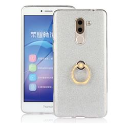 Luxury Soft TPU Glitter Back Ring Cover with 360 Rotate Finger Holder Buckle for Huawei Honor 6X Mate9 Lite - White