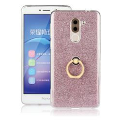 Luxury Soft TPU Glitter Back Ring Cover with 360 Rotate Finger Holder Buckle for Huawei Honor 6X Mate9 Lite - Pink