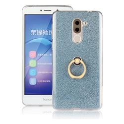 Luxury Soft TPU Glitter Back Ring Cover with 360 Rotate Finger Holder Buckle for Huawei Honor 6X Mate9 Lite - Blue