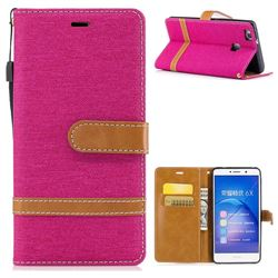Jeans Cowboy Denim Leather Wallet Case for Huawei Honor 6X Mate9 Lite - Rose
