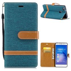 Jeans Cowboy Denim Leather Wallet Case for Huawei Honor 6X Mate9 Lite - Green