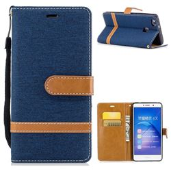 Jeans Cowboy Denim Leather Wallet Case for Huawei Honor 6X Mate9 Lite - Dark Blue