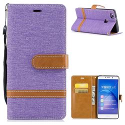 Jeans Cowboy Denim Leather Wallet Case for Huawei Honor 6X Mate9 Lite - Purple