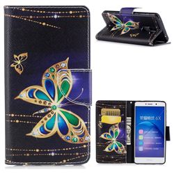 Golden Shining Butterfly Leather Wallet Case for Huawei Honor 6X Mate9 Lite